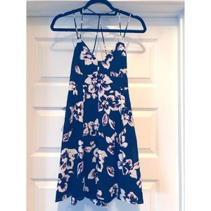 Black/White Floral Print Spaghetti Strap Dress